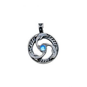 The Dolphins Triskilian for Guidance and Inner Peace represent harmony and spirituality while the traditional Triskilian design shows the three realms of being. This charm may be worn for guidance and inner peace.